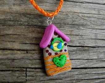 Bird House Necklace, Cuckoo Necklace, Birdhouse Polymer Pendant, Bird House Jewelry, Polymer Clay Bird House