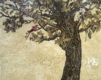 Olive Tree  of Stone Tile Mosaic Art