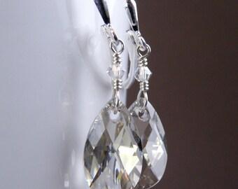 Silver Crystal Earrings, Gray Swarovski Teardrop, Sterling Silver, Dangle Bridal Earrings, Bridesmaids Wedding Jewelry, Handmade
