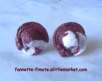 Stainless steel Fimo hats Burgundy and white Stud Earrings - handmade