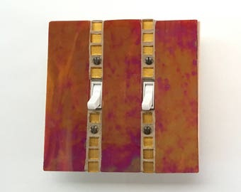 Red Iridescent Stained Glass, Decorative Light Switch Cover, Light Switch Plate, Decorative Switch Plate, Light Switch Cover, 8754