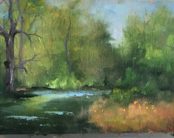 Landscape Oil Painting, Original Oil Painting By Kathy Clouse, Impressionistic Oil Painting, Wall Decor, Original Small Oil Painting,