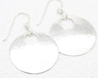 Hammered Sterling Silver Disc Earrings with Peephole in Medium Sized 1 Inch Round