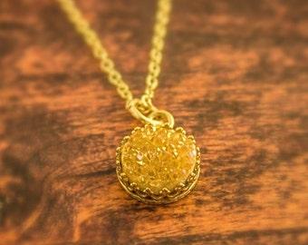 Gold Druzy Necklace, Gold Druzy Quartz Necklace, Druzy Jewelry, Drusy Necklace, Drusy Jewelry, Druzy, Gold Druzy, Bridal Jewelry