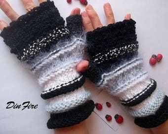 Women L 20% OFF Gloves Ready To Ship Fingerless Mittens Hand Knitted Cabled Striped Accessories Wrist Warmers Winter Arm Wool Mohair 870