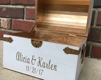 White and gold chest, wedding box, white and gold