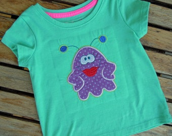 Baby Girl Monster Tee Shirt, Girl's Top with Monster Applique, Baby Girl Embroidered Top, Size 12 Mos,