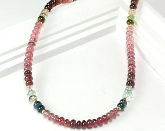 Tourmaline Necklace, Gemstone bead necklace in Gold, October Birthstone Beaded necklace jewelry, Christmas, Anniversary Gift for Wife