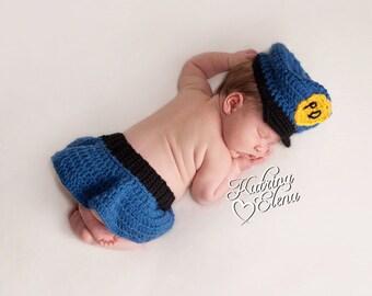 Police Girl Newborn Prop/  Police Girl Newborn Hat and Skirt/ Newborn Crochet Photo Prop