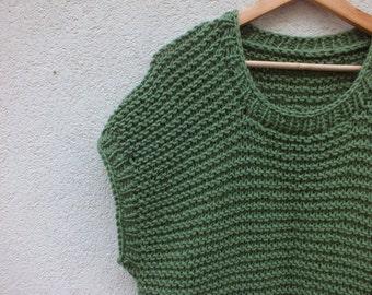 Green poncho sweater/ wool sweater/ handknit sweater/ Dress Sweater
