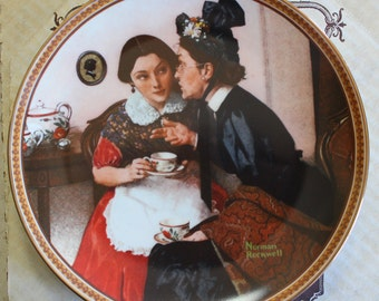 """1983 Norman Rockwell """"Gossiping in the Alcove"""" Collectible Plate"""