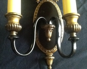 Antique Vintage Double Arm Victorian Sconce 1920s Brass Rewired