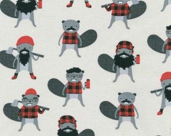 Burly Beavers by Andie Henna - Burly Beavers in Steel (AHE15992185) - Robert Kaufman - 1 Yard