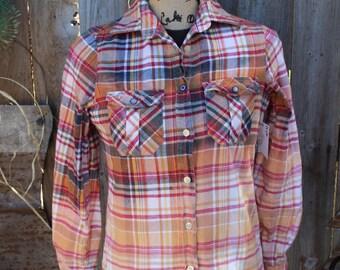 Women's Small Distressed Flannel Shirt, Bleached flannel, ombre, faded flannel shirt, gypsy style, rustic repurposed shirt, plaid  FF250