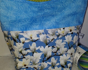 Medium or Large Project WIP Tote Bag, Magnolia Blooms, Springtime, Gardenia Flowers, Floral Inspired, Zipper or Drawstring
