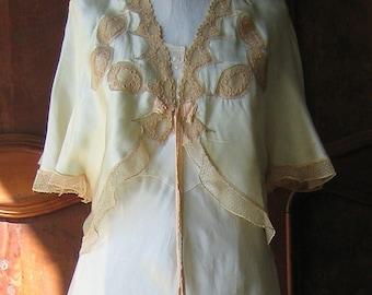 Bed Jacket Pale Green Silk Ecru Lace