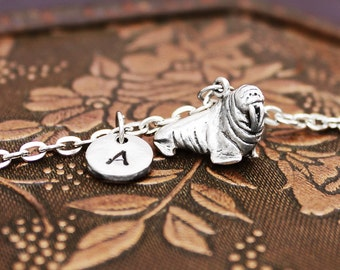 Walrus Necklace, Initial Necklace Personalized Necklace, Engraved Necklace, Custom Necklace, Animal Necklace, Hand Stamped, Charm Necklace