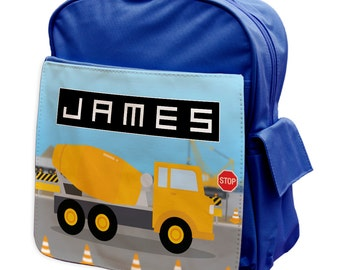 Personalised Construction Cement Mixer Rucksack Backpack 1 - back to school - school - gym bag - pink - blue -