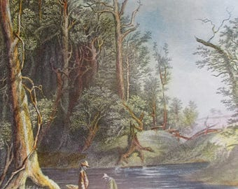 THE CHICKAHOMINY Vintage Color Reproduction Print Nature Art Mountains Lakes Rivers Ready to Frame Additional Prints Ship Free