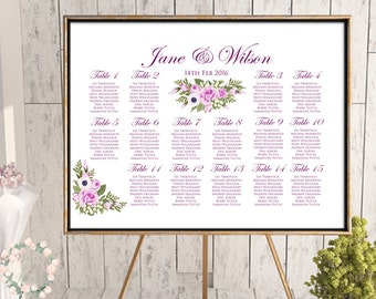 Printable Magenta Purple Wedding Seating Chart, Find your seat, Wedding Seating Poster, Wedding Seating Sign, Wedding Seating Board WD61