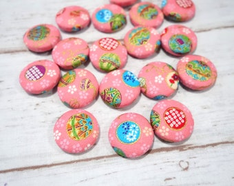 Fabric Covered Button Sewing button Kimono style fabric 27mm ( 1.06inch) in diameter set of 4 pieces
