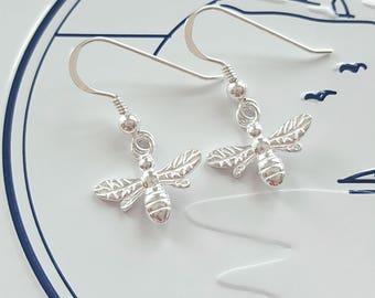 Bee Earrings, Sterling Silver Bee Earrings, Silver Bee Earrings, Bee, Gift For Her