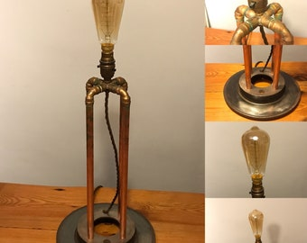 Copper pipe table lamp industrial upcycled