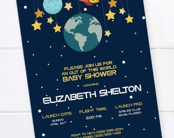 Space Baby Shower Invitation, Outer Space Shower, Rocket Birthday, Space Party, Planet Birthday Invitation, Space Birthday, Digital File
