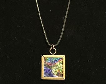 Glass tile mixed media pendant