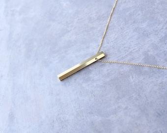 Minimalist Necklace Brass Pendant Contemporary Geometric Jewelry