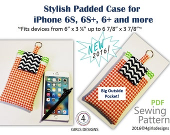 """Instant Download PDF Sewing Pattern for iPhones Padded Case and Fits More up to 6 7/8"""" by 3 7/8"""" NEW DiY Gift for Techies, Creative Spirits"""