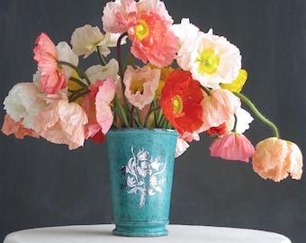 Gustavsberg Argenta Vase - Silver Inlay and Teal - Swedish Modern Ceramic Design - Flowers Blue Green Glaze - Scandinavian Pottery Sweden