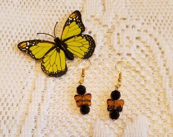 Butterfly Mania , Butterfly Earrings With Gold Hooks