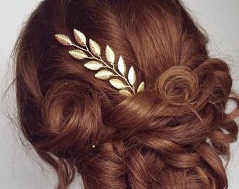 Gold Leaf Vine, Bridal Hair Piece, Vine Hair Pin, Gold Vine Headpiece, Leaf Hair Vine, Gold Branch Hair Accessory, Vine Haircomb, Wedding