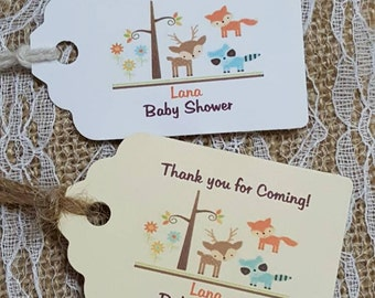 """Personalized 2.5""""L x1.8""""w  Favor Tags , baby shower tags, Thank You tags, woodland baby shower, woodland animals"""