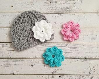 Girls Flower Hat, Crochet Flower Hat, Changeable Flower Hat, Baby Flower Hat, Removable Flowers Hat, Flower Beanie Hat, Baby Girl MADE2ORDER