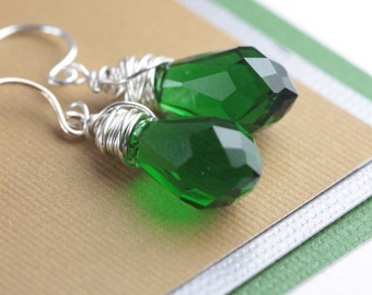 Sterling Silver and Emerald Green Quartz Briolettes Earrings