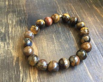 "Tigers Eye Beaded Bracelet 6.5"", stretch elastic, gifts for women mom sister best friend wife girlfriend, stretch bracelet"