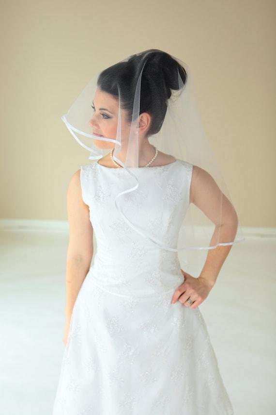 2-Tier Waist length round veil with Satin Ribbon