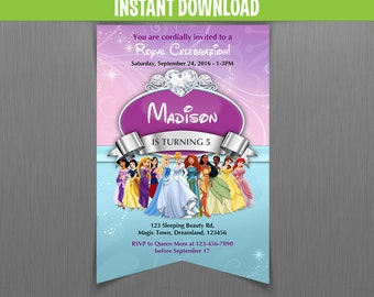 Disney Princess Scroll Birthday Invitation - Instant Download and Edit with Adobe Reader