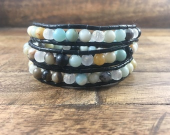 Amazonite Triple Wrap Leather Bracelet // lava bead for Essential oil.