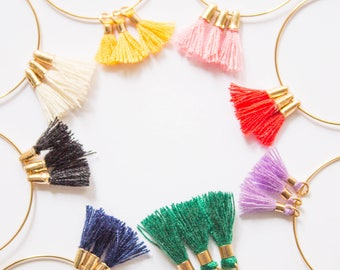 Nerrisa -earrings (colourful pom pom tassels on 16K polished gold plated hoops)