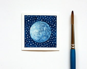 Moon Painting, Miniature Painting, Tiny Moon Watercolour Painting, Space Art, Sky Painting, Blue Full Moon Art, Miniature Art, MADE TO ORDER