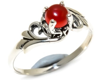 Natural Red Onyx Round Gemstone Ring 925 Sterling Silver R1255