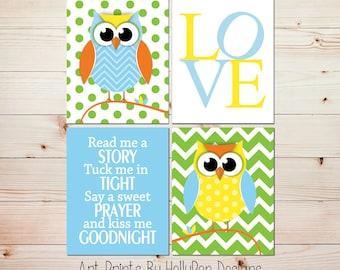 Baby Boy Nursery Art Gender Neutral Nursery Decor Owl Nursery Wall Decor Bright Colorful Nursery Prints Read Me A Story LOVE print  #0802