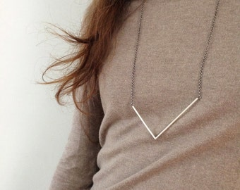 silver asymmetrical V necklace, long