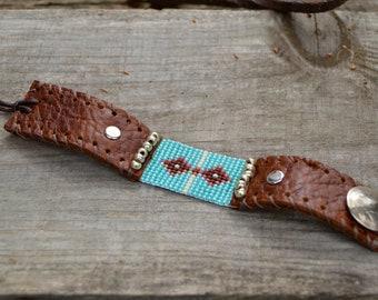 Seed Bead Leather Cuff