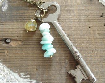 Skeleton Key Necklace. Gemstone Necklace. Antique Key Necklace. Amazonite, Aquamarine Stone Necklace. Artisan Gemstone Jewelry. Boho Gift.