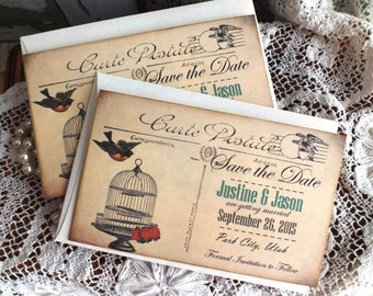 Wedding or Anniversary Save the Date Vintage Postcards Handmade by avintageobsession on etsy