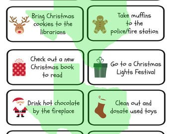 Advent Calendar Printable Activities, Instant Download, Advent Calendar Activities, Family Christmas Activities, Holiday Activities, 25 Days